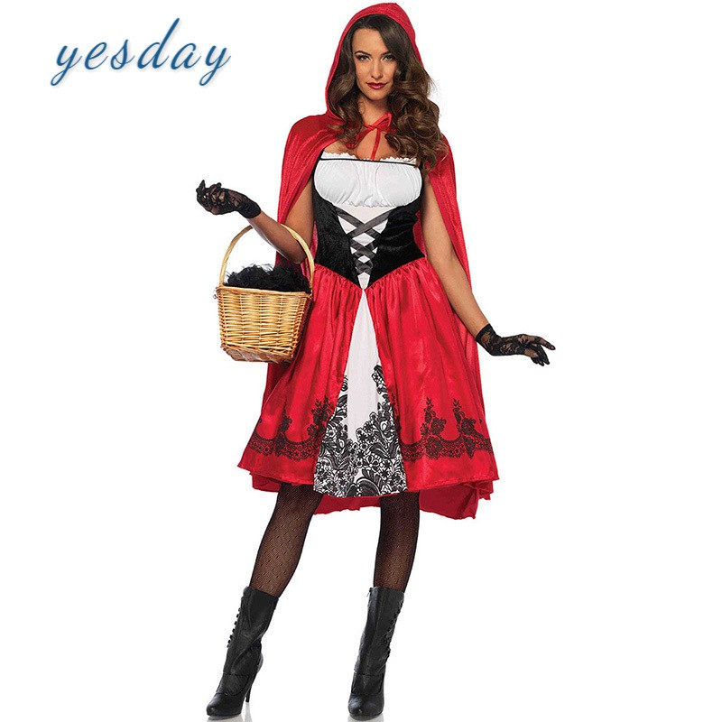 Dress Fancy Riding Hood Stag Mens Ladies Male XL Adult/'s Red Capelet Costume