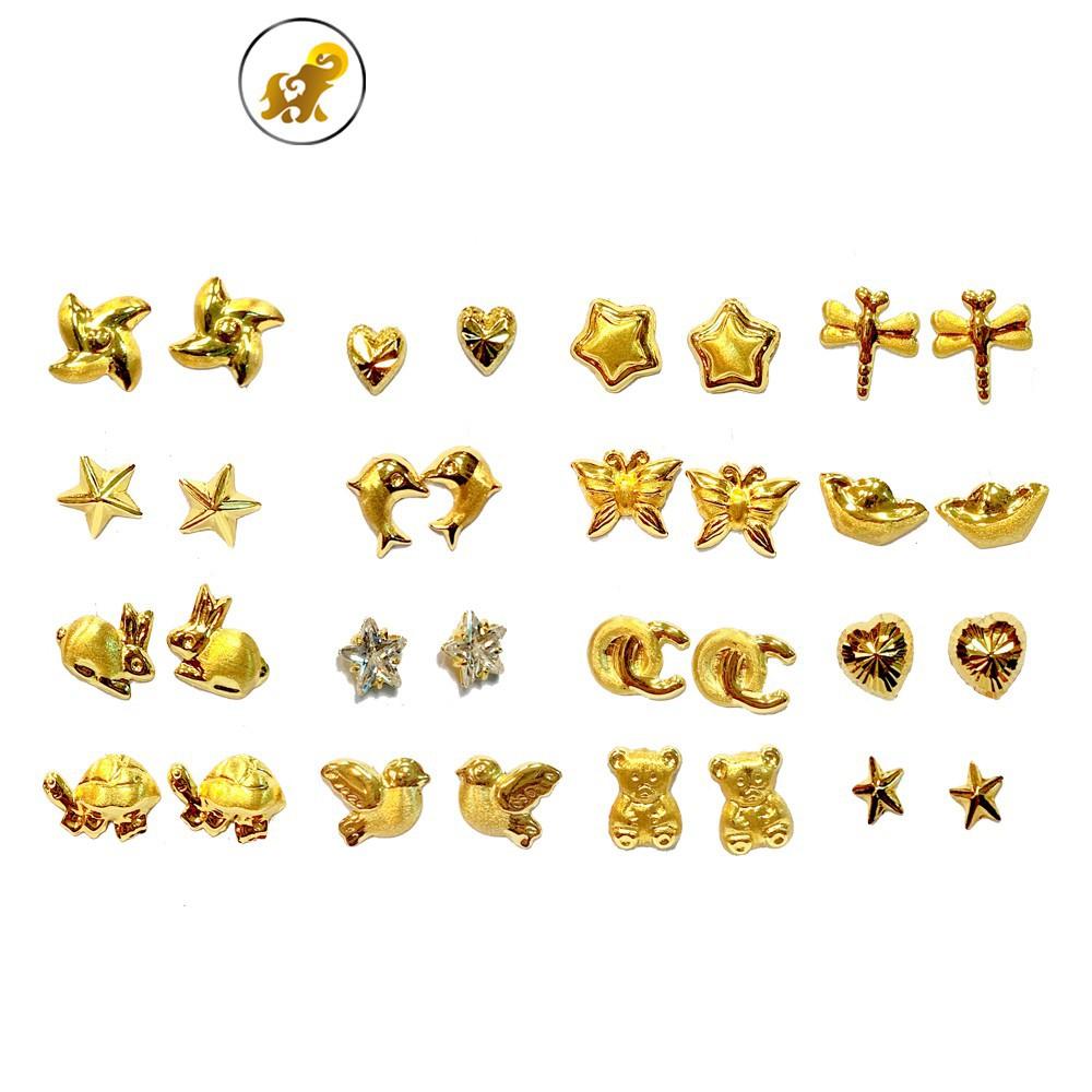 ราคาไม่แพงมาก☸◑▫Flash Sale ต่างหูทองคำแท้ พร้อมแป้นทอง ทองคำแท้ 90.0% มีใบรับประกัน