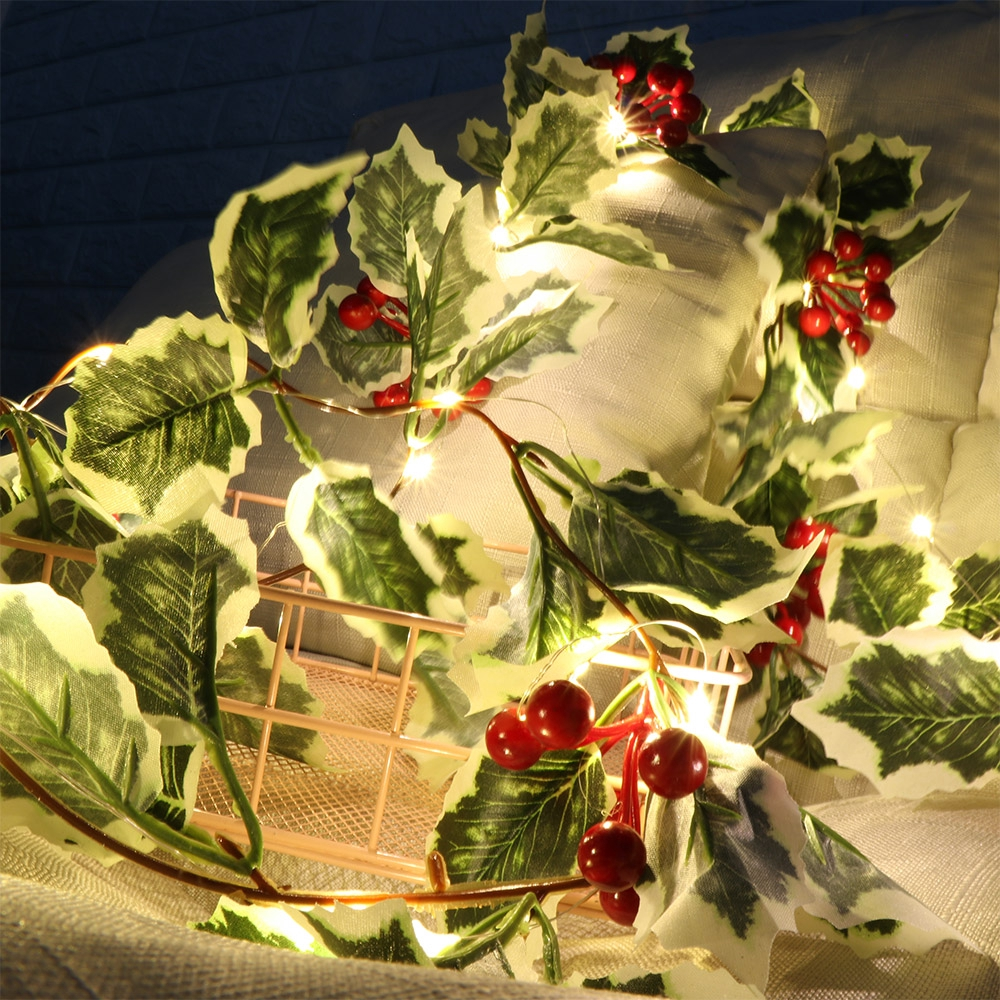 Xmas Red Berry LED Fairy String Lights Christmas Rattan Garland With Lamps US