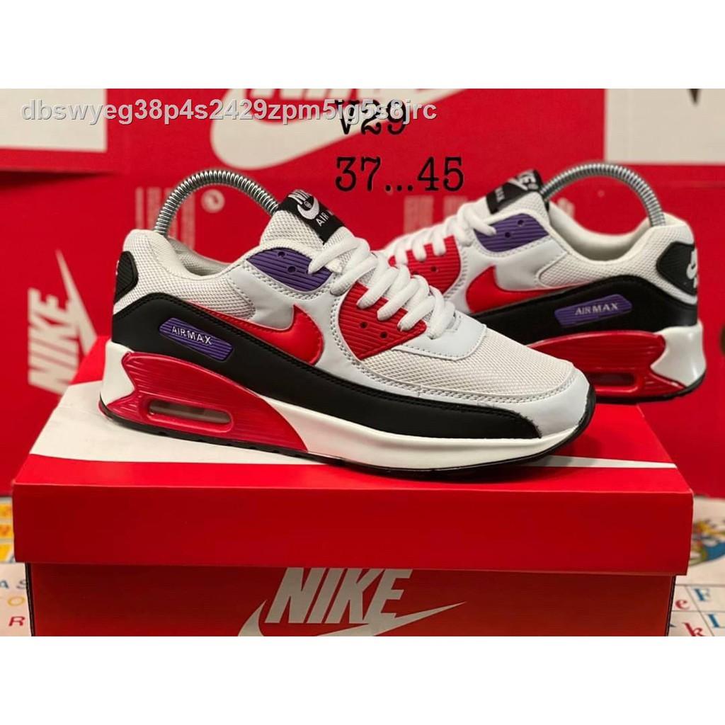 """[มีสินค้าในสต๊อก]✼●❡[ส่งฟรีส่งเร็ว 1-3 วัน] รองเท้าบูท Nike Airmax 90 """"WhiteRed"""" Size37-45 สินค้าพร้อมกล่องเปย์รี่ Siz"""