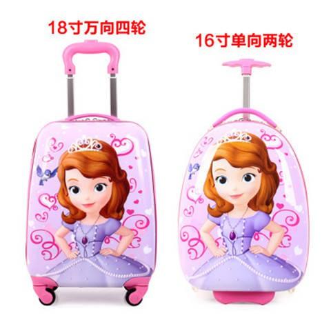 กระเป๋าเดินทางกระเป๋าเดินทางลายการ์ตูนขนาด 20 นิ้ว 18 นิ้วล้อเด็ก