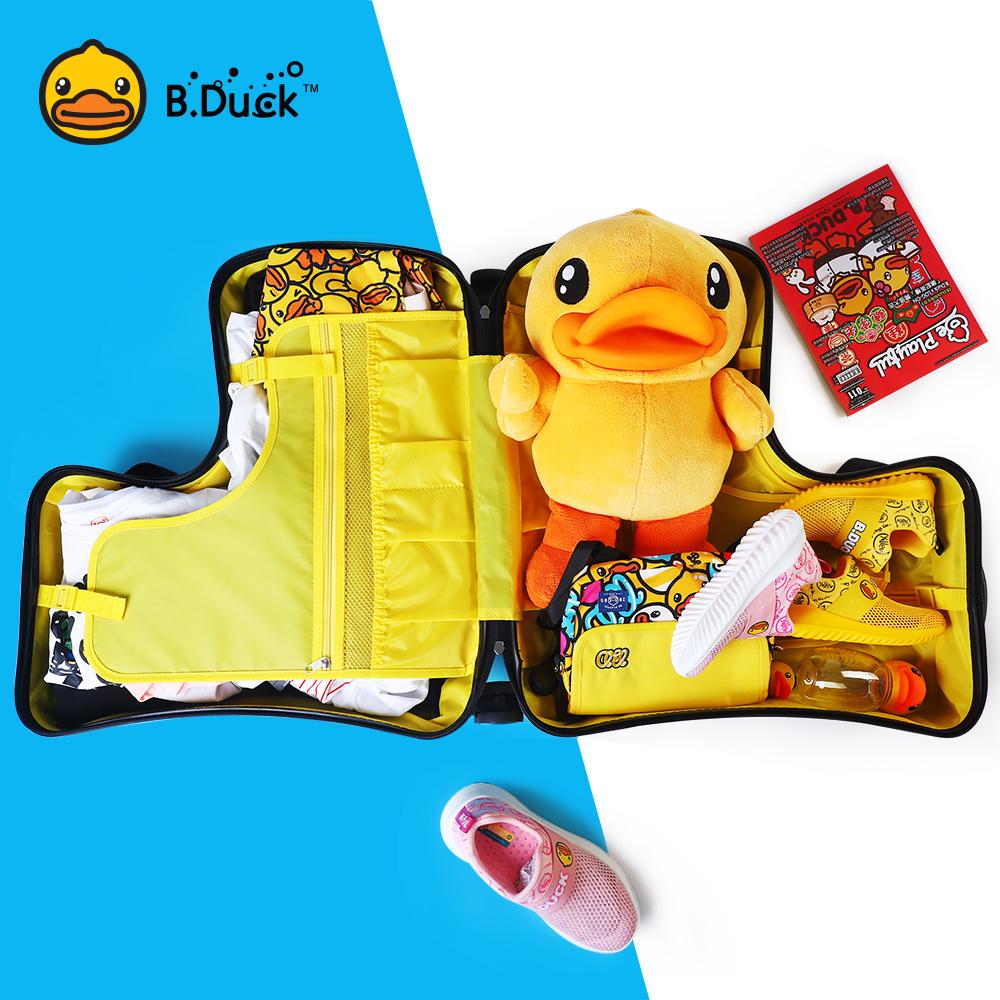 ぴ☽ กระเป๋าเดินทางล้อลาก กระเป๋าเดินทางล้อลากใบเล็กกระเป๋าเด็กเป็ดสีเหลืองขนาดเล็กสามารถติดตั้งเด็กสามารถขี่เด็กเดินทางลา