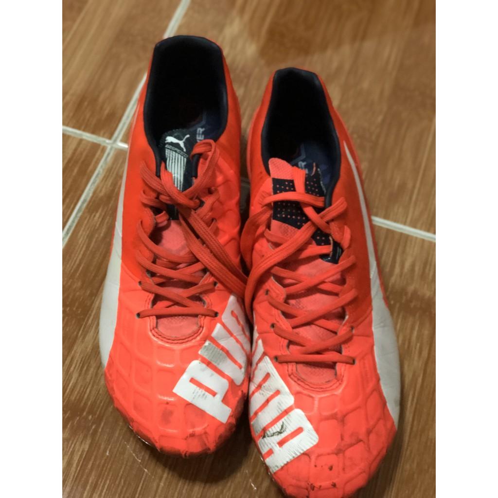 รองเท้าสตั๊ด แท้ 100% Puma evoSPEED 1.4 Synthetic Lava Blast FG ไซส์ 42.5/270 9US TOP + ไม่มีกล่อง มือสอง