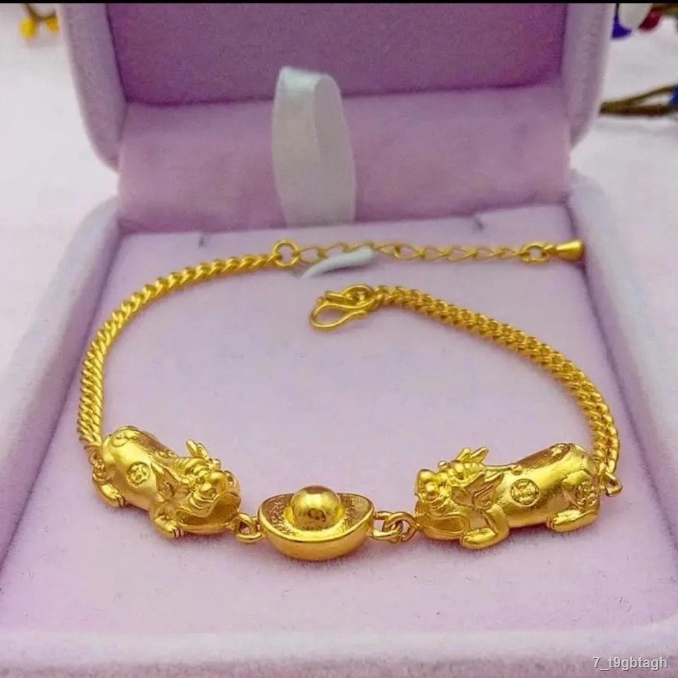 ราคาต่ำสุด❍▪♘[เครื่องประดับที่ดีอีกครั้ง] Seiko สร้อยข้อมือทองคำแท่งคู่ชายและหญิงของ