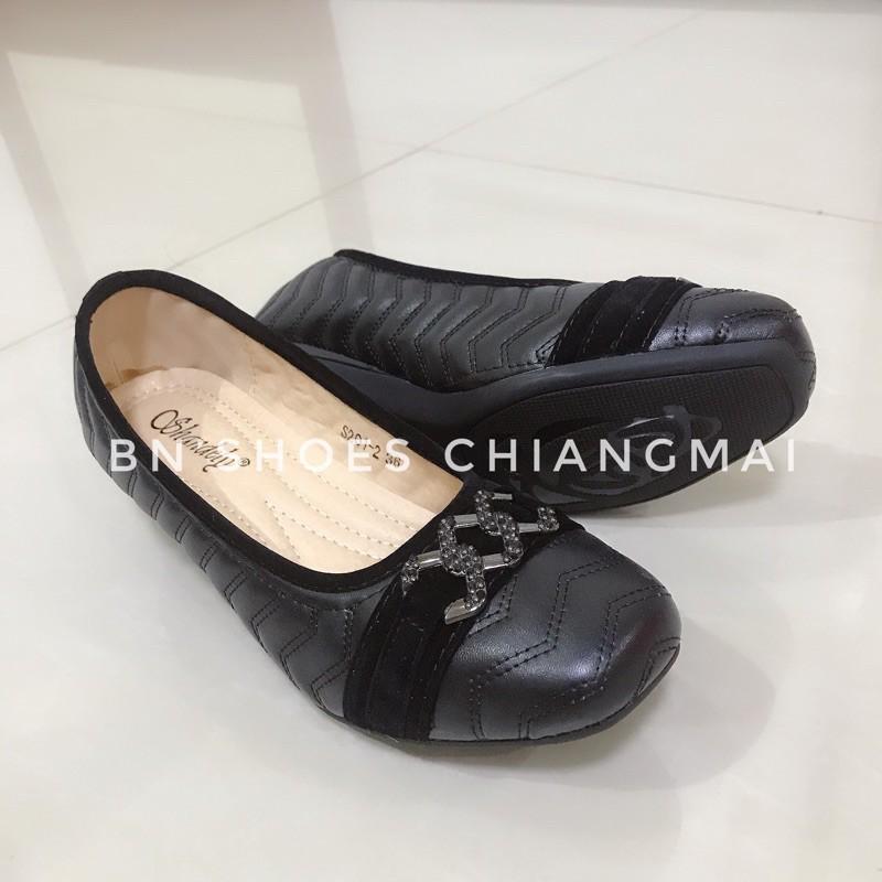 รองเท้าคัชชูสีดำส้นเตี้ย ใส่ทำงาน ใส่เรียน พื้นนุ่ม ใส่สบาย รุ่น S201-2