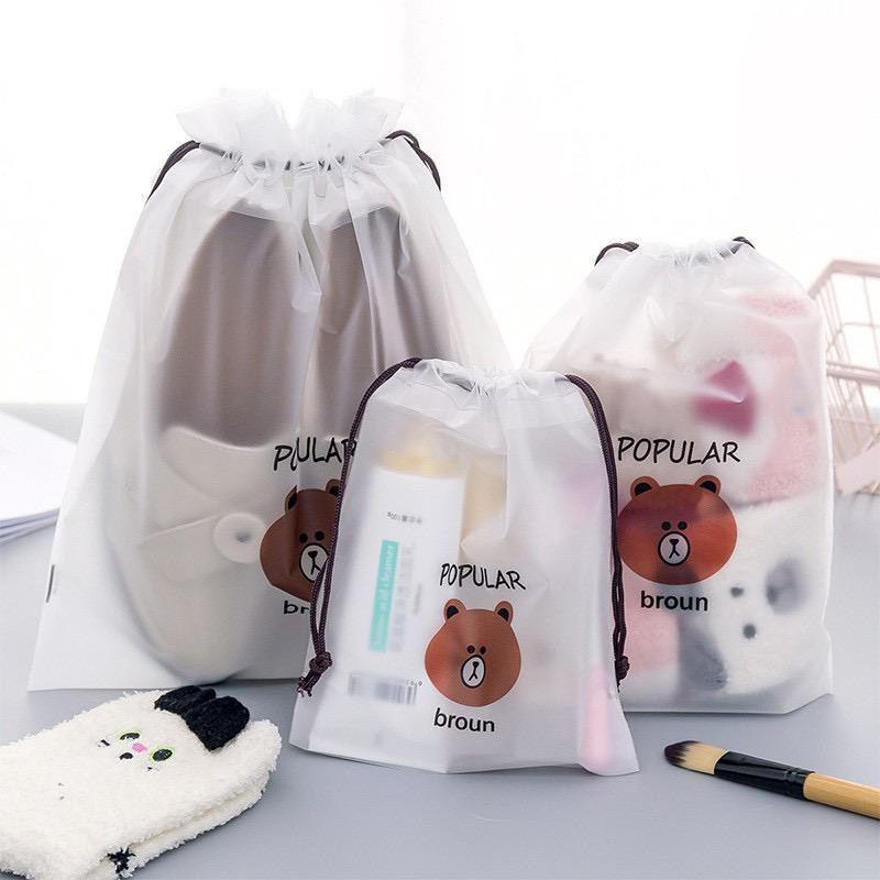 กระเป๋าหูรูด กันน้ำ ลายการ์ตูน สำหรับใส่เครื่องสำอาง รองเท้า พกพา เดินทาง