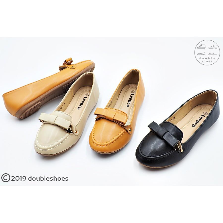 รองเท้าคัชชูทรงสวย รองเท้าออกงาน รองเท้าทำงาน ส้นเตี้ย รุ่น MK92-1 (สีดำ/ แทน/ แอปปริคอท) ไซส์ 36-40