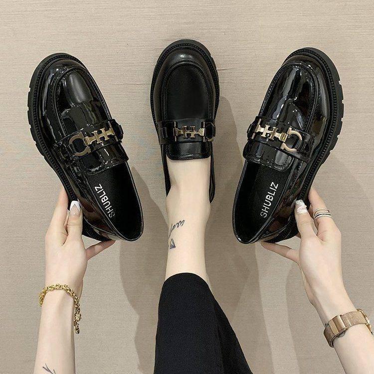 รองเท้าผู้หญิง รองเท้าคัชชู ร้องเท้า ☸Laofu รองเท้าหญิงสีดำสไตล์อังกฤษรองเท้าหนังขนาดเล็กรองเท้าเดียวหญิง 2021 ใหม่รองเท