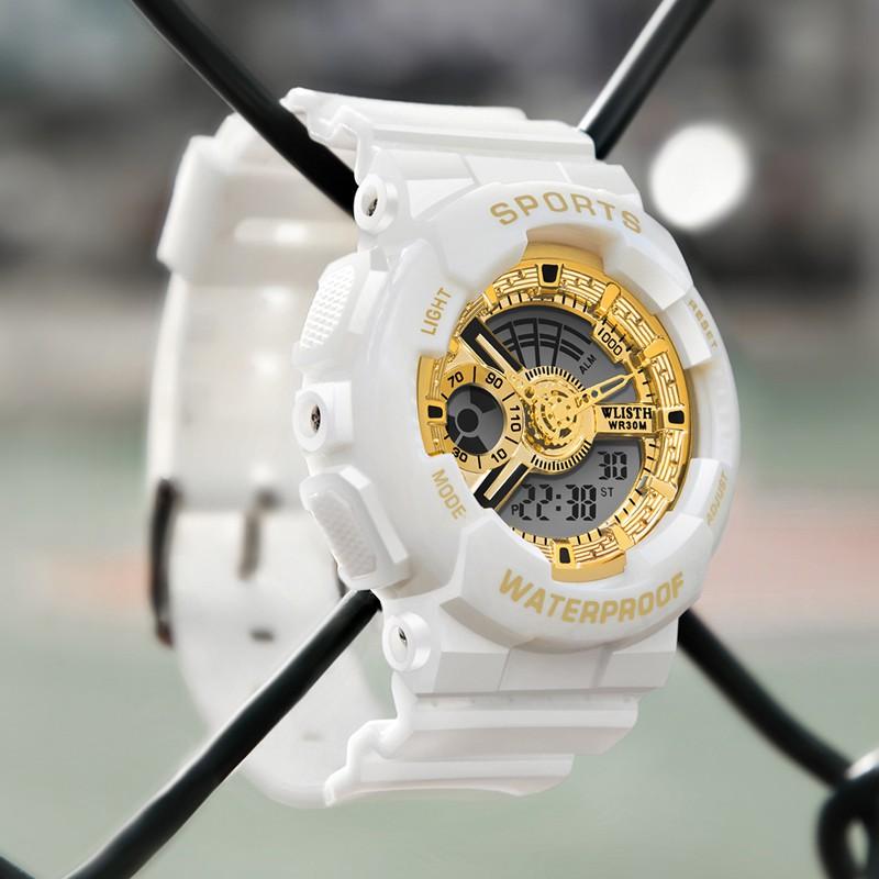 WLISTH นาฬิกาผู้หญิง นาฬิกาแฟชั่น นาฬิกาวิ่ง สายนาฬิกาหนังแท้  นาฬิกากันน้ำ  นาฬิกาแบรนด์เนม โต๊ะสแตนเลส  (Casio movemen