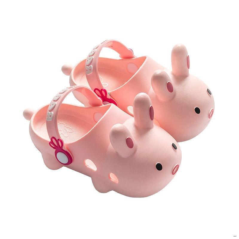 ยางยืดออกกําลังกาย✕🌈รองเท้าสตรี🌈  รองเท้าเด็กหลุมในช่วงฤดูร้อนบ้านกระต่ายน่ารักสาวในร่มกันลื่นเป่าโถวป้องกันการชนกันเ