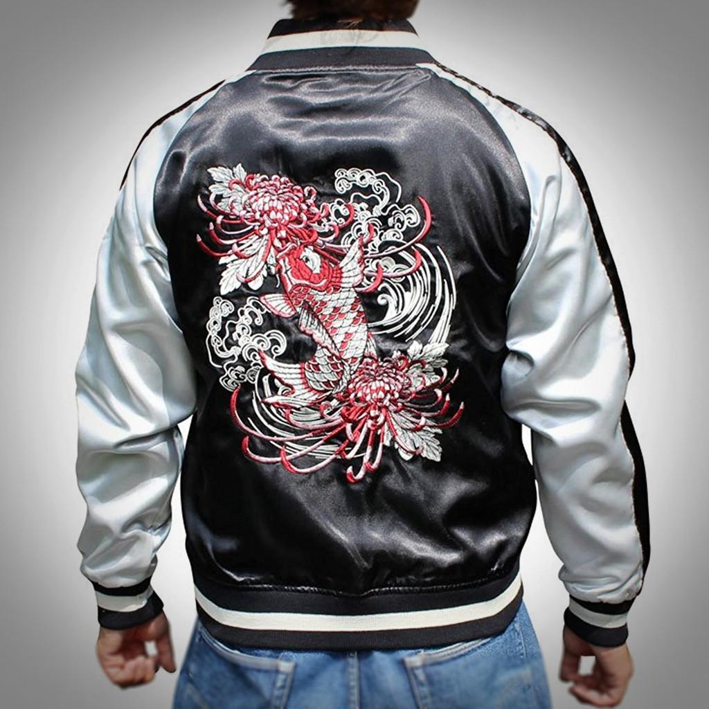 SUKAJAN พรีเมียมเกรด Japanese Souvenir Jacket  แจ็คเกตซูกาจันลาย  RED KOI