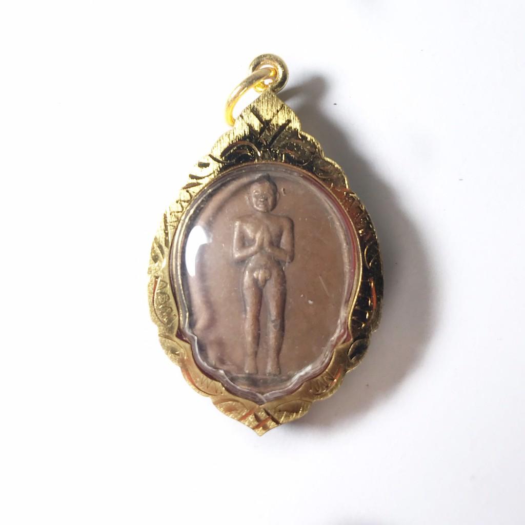 เหรียญตาไข่ เหรียญไอ้ไข่ เด็กวัดเจดีย์ รุ่นแรก ปี2526 จ.นครศรีธรรมราช เลี่ยมกรอบทองไมครอน