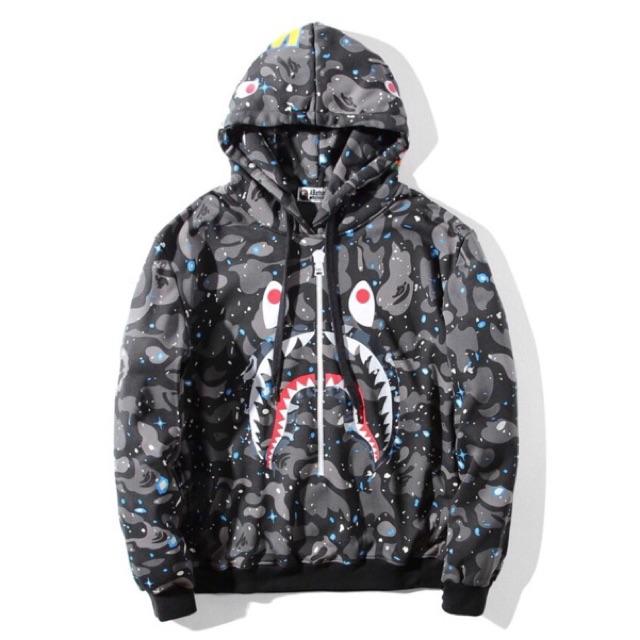 Luminous A Bathing Ape BAPE Shark Head Camouflage Sweatshirt Coat Hoodie Jacket