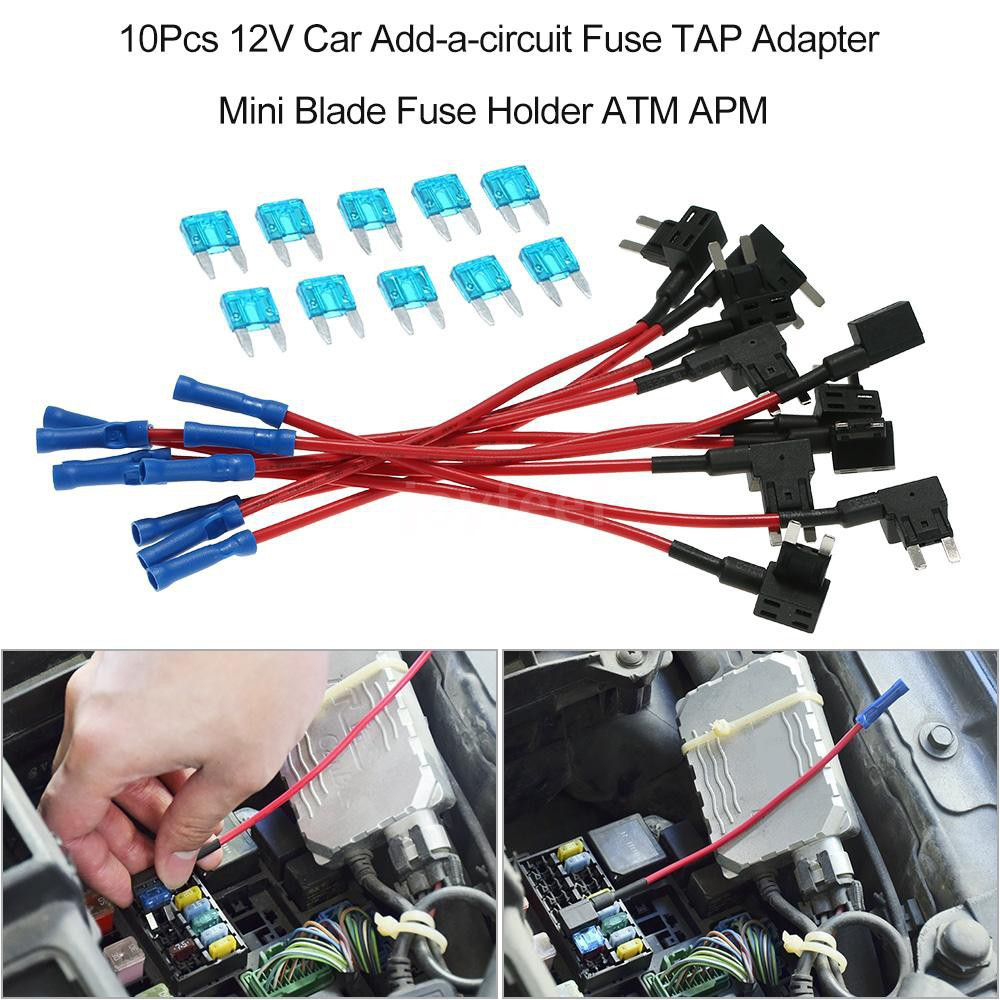 Keenso Car Add A Circuit Fuse Tap Mini Type 5pcs 12V Blade Fuse Holder Automotive Add A Circuit Fuse Adapter