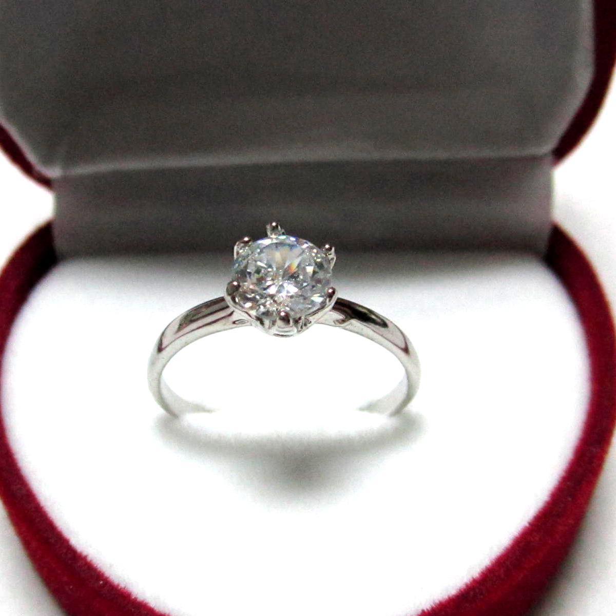 TANITTgemsแหวนทองคำขาวประดับเพชรCZขนาด0.8กะรัตราคาโรงงาน เบอร์ 7