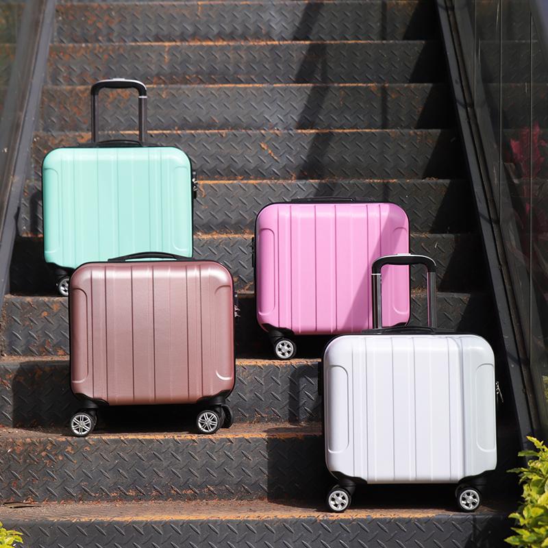 ぴ♋ กระเป๋าเดินทางล้อลากใบเล็ก กระเป๋าเดินทางล้อลากกรณีรถเข็นหุ่นไล่กาเวอร์ชั่นเกาหลีของการ์ตูนน่ารักตัวถังผู้หญิง18นิ้วเ