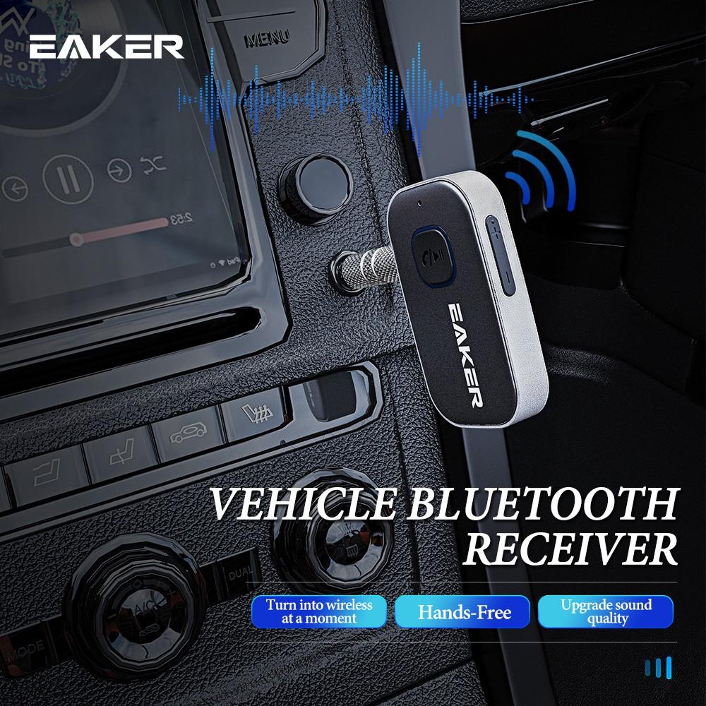 Eaker Car Bluetooth Music Receiver อุปกรณ์รับสัญญาณบลูทูธ บลูทูธติดรถยนต์ผ่านช่อง Aux Hd Voice เบสแน่น เสียงดี Rc12.