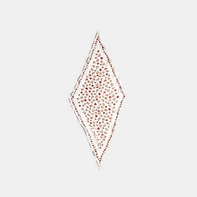 ผ้าผูกกระเป๋าcoachแท้💯%  ESSENTIAL TEA ROSE SILK DIAMOND SCARF (COACH 89796)