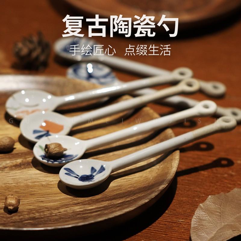 สไตล์ญี่ปุ่น เครื่องเคลือบดินเผา ช้อน ช้อนกาแฟ ช้อน underglaze บ้าน ย้อนยุค เครื่องหิน ทำด้วยมือ ช้อนเล็ก น่ารัก ช้อนผสม ขายส่ง