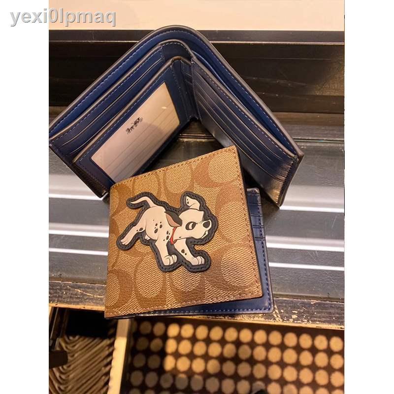 ข้อเสนอพิเศษ▥Koala US ซื้อ Coach กระเป๋าสตางค์ใบสั้นสองพับผู้ชาย Disney พร้อมช่องใส่บัตร 91655