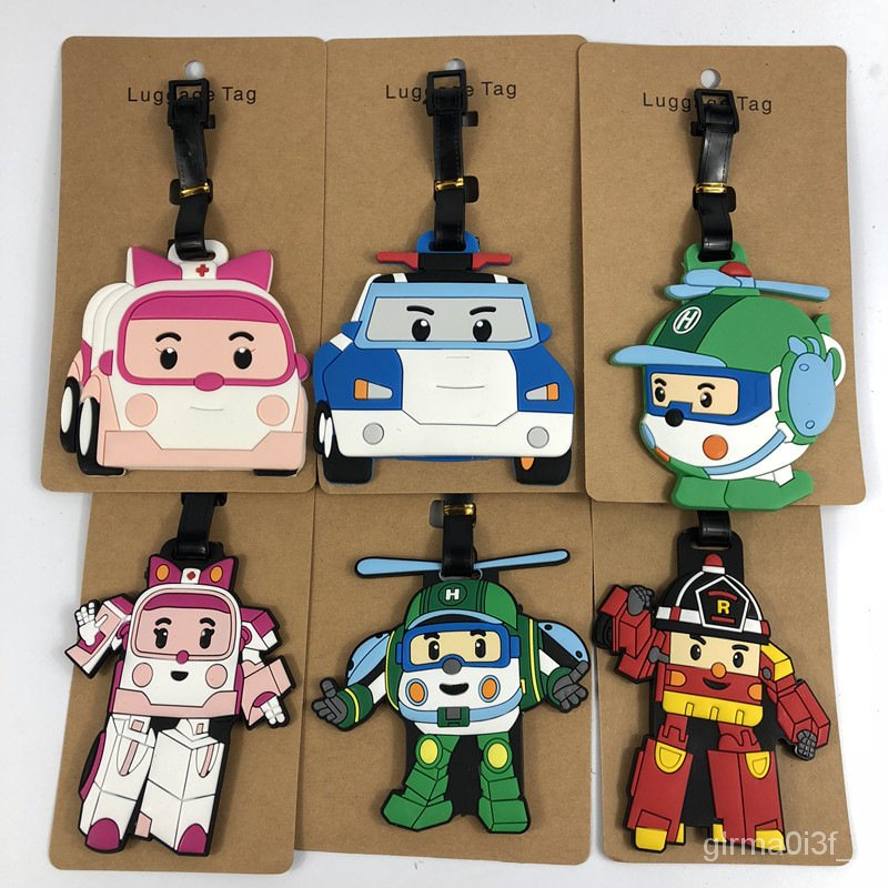 แท็กกระเป๋าเดินทางการ์ตูน Robocar Poli Thomas และเพื่อนทำเครื่องหมายบัตรเด็กน่ารัก กระเป๋าเดินทางล้อลาก ป้ายแท็ก ป้าย กร