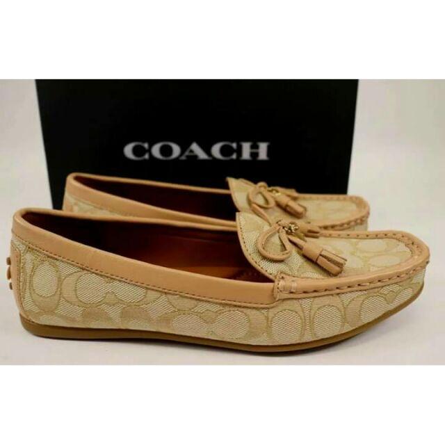 รองเท้าคัชชู Coach GreenwichSignture สี Light Khaki #fg3450 พื้นเรียบสวมใส่สบาย ขนาด US7.5/ EU38/24.5CM นำเข้าจากอเมริกา