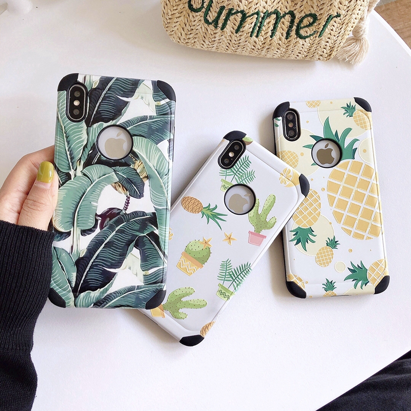Leaf Pineapple Non-slip Hard Case IPhone 6 6S 7 8 Plus IPhone X XS Max XR Shockproof