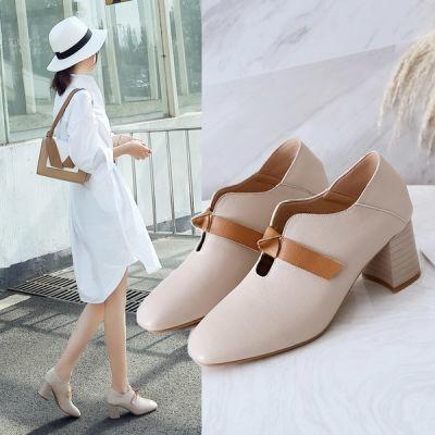 🌹🌹มีสินค้า🌹🌹รองเท้าใหม่ รองเท้าคัชชูหัวแหลมเกาหลีหัวแหลมส้นเตารีด รองเท้าผู้หญิง Square toe