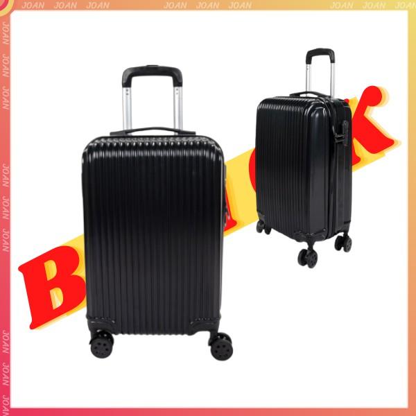 กระเป๋าเดินทางสีดำ รุ่นใหม่ริ้วเล็ก กันน้ำ 24/20นิ้ว ล้อ 360องศา วัสดุABS+PC แข็งแรงทนทาน กระเป๋าเดินทางล้อลาก