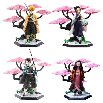 Demon Slayer Kimetsu No Yaiba Figure Kochou Shinobu Kamado Nezuko Tanjirou Zenitsu Cherry Blossom Scene Toy CI4p