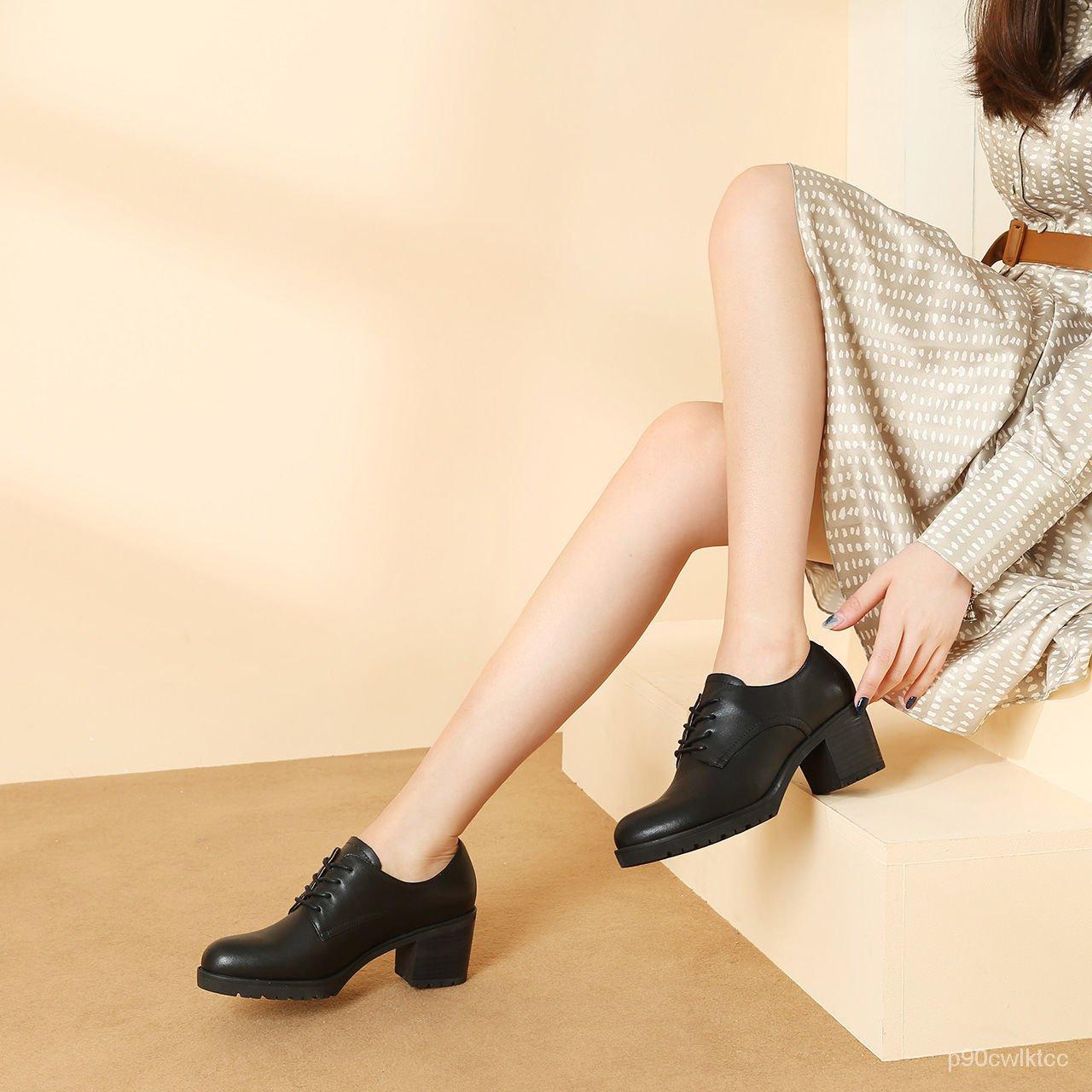 รองเท้าคัชชูส้นเตารีด รองเท้าผู้หญิงรองเท้าหนังสีดำรองเท้าผู้หญิงมืออาชีพรองเท้าผู้หญิงหนากับรองเท้าผู้หญิงรองเท้าลิ่มบว