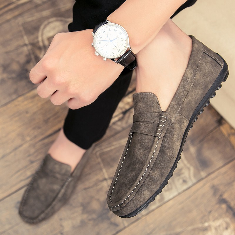 รองเท้าโลฟเฟอร์หนัง สีดำ สำหรับผู้ชาย คัชชูผู้ รองเท้าหนัง เกาหลี รองเท้าผู้ แบบ สวม ไม่มี ส้น ผูกเชือก เสื้อผ้าแฟชั่น