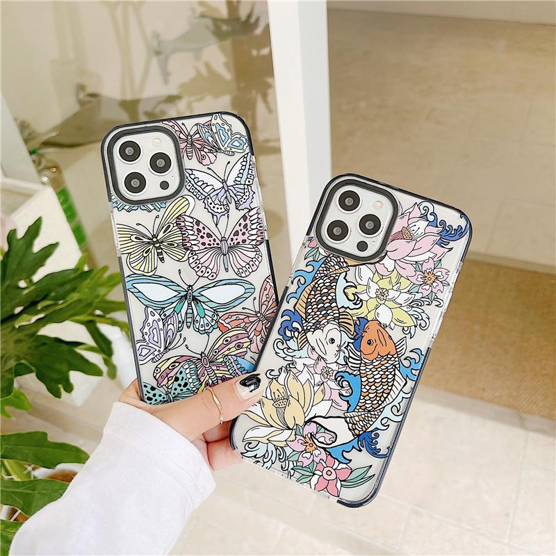 สองสีtpuผีเสื้อแอปเปิ้ลกรณีโทรศัพท์มือถือ iPhone12promax/12pro/12mini/12 iPhone 11/11 Pro 11 Pro Max X XR XS Max 6s 7 8 Plus se2 Anti-skid and anti-fall mobile phone case