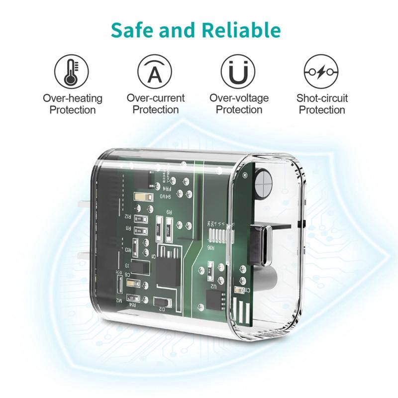 CHOETECH PD อะแดปเตอร์หัวชาร์จเร็ว Type C 18W USB C qxd0