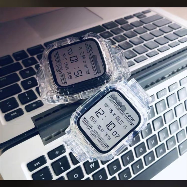 เคส applewatch ของแท้ 100% สายนาฬิกาข้อมือเข็มกลัดรูแบบคู่ สีใส พร้อมเคส สำหรับ Apple Watch series 6 5 4 3 2 1 จัดส่งจาก