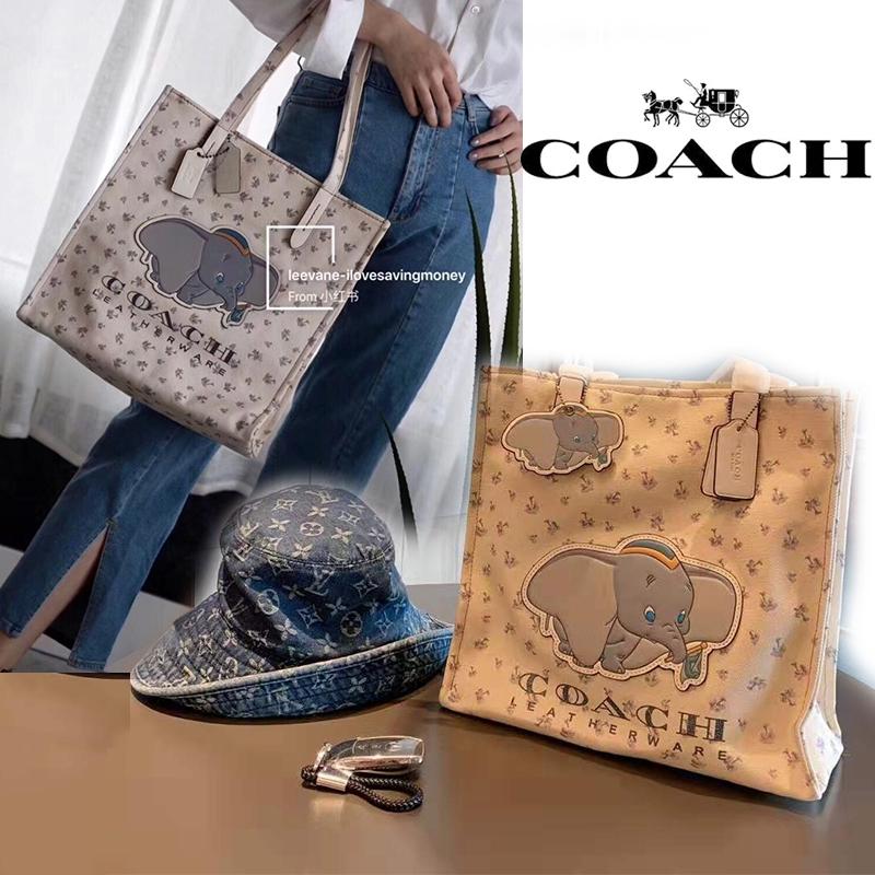 coach กระเป๋าช้อปปิ้งกระเป๋าถือกระเป๋าผ้าแคนวาสขนาดใหญ่สําหรับผู้หญิง