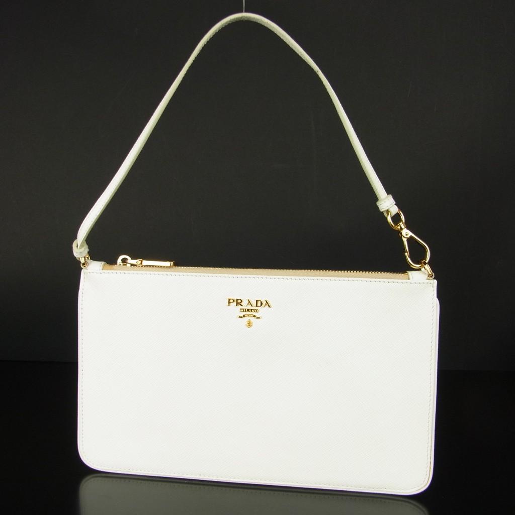 แท้ 100% กระเป๋าถือ PRADA Logos Saffiano Leather พอช มินิ มือสอง 772