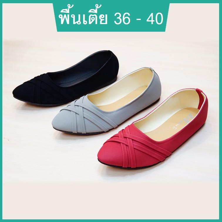 รองเท้าคัชชูผู้หญิง รองเท้านักศึกษาหญิง รองเท้าหุ้มส้นหญิง พื้นแบน พื้นเตี้ย หนังนิ่ม สีดำ เทา แดง ไซส์ 36-40