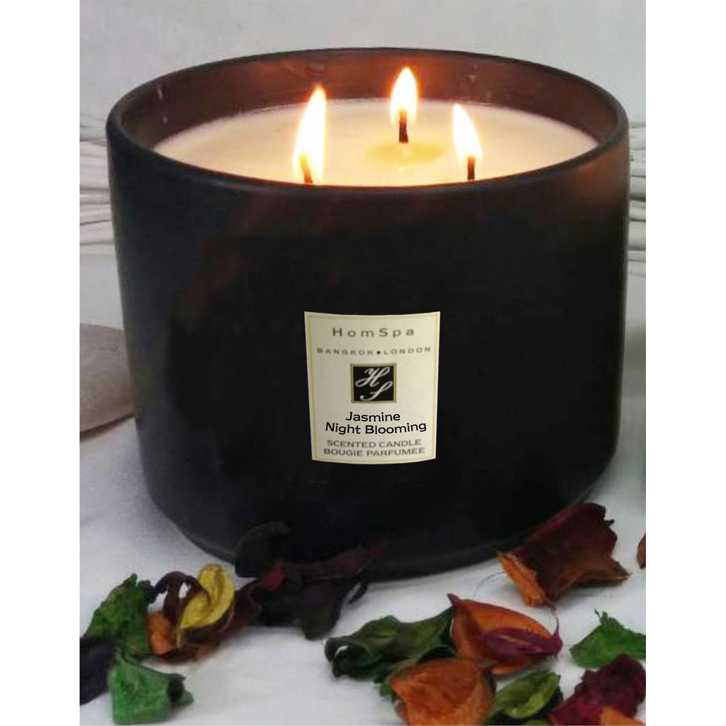 เทียนหอม soy wax (ไขถั่วเหลือง) กลิ่นลาเวนเดอร์ 3 Wick Candle Ceramic 700 grm Black - JASMINE NIGHT BLOOM