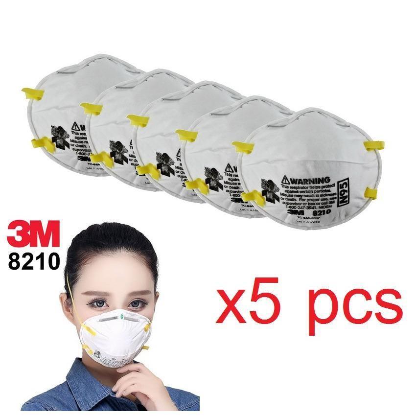 (x5ชิ้น) 3M 8210 N95 หน้ากากป้องกันฝุ่น Particulate Respirator PM2.5