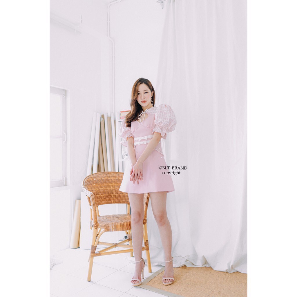 งานป้าย BLT Brand แขนพอง สีชมพูน่ารักมา สินค้าไม่ผ่าน QC : Baby rose pastle (รบกวนอ่านรายละเอียดก่อนสั่งนะคะ) Size Xs