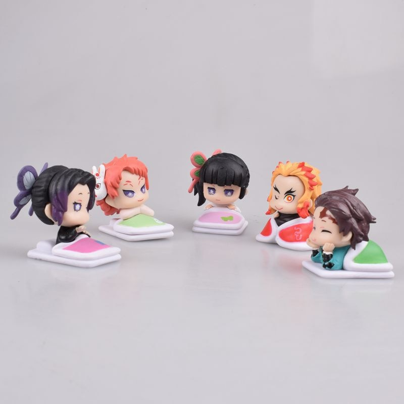 5 cs/lot Kimetsu no Yaiba figure Tanjirou Tsuyuri Kanawo Kochou Shinobu Slee doll anime Demon Slayer Action figure model