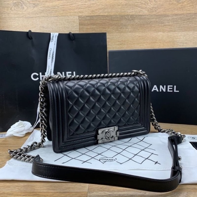 Chanel boy soft lamb skin cow leather  Grade original งานหนังแท้