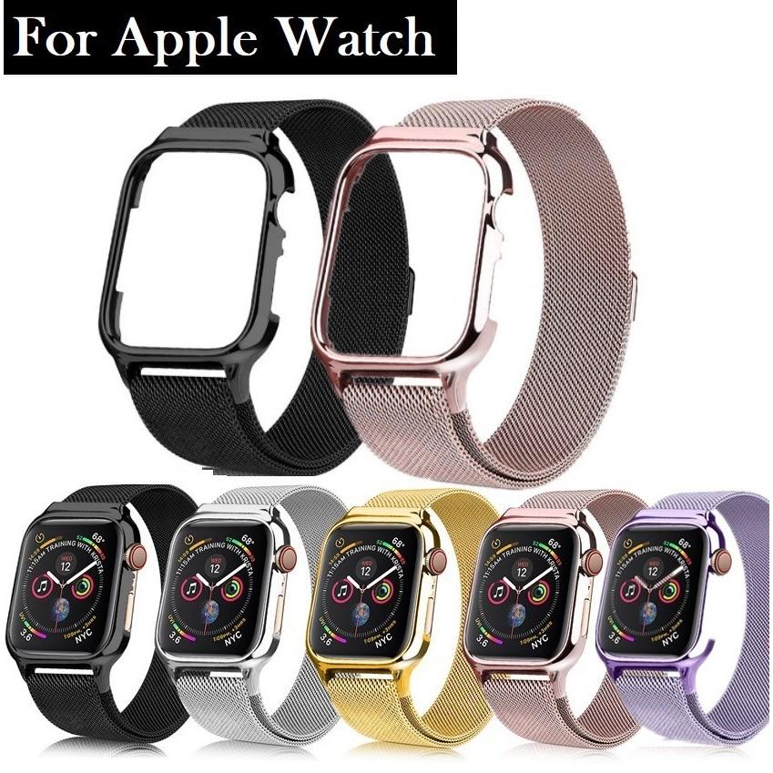 สายนาฬิกา Apple Watch Iwatch Milanese เหล็กกล้าไร้สนิม เคส + สาย applewatch Series 1/2/3/4/5/6,Apple Watch SE Size 38มม.40มม 42มม.44มม สายนาฬิกาข้อมือ Stainless steel apple watch 5 Strap