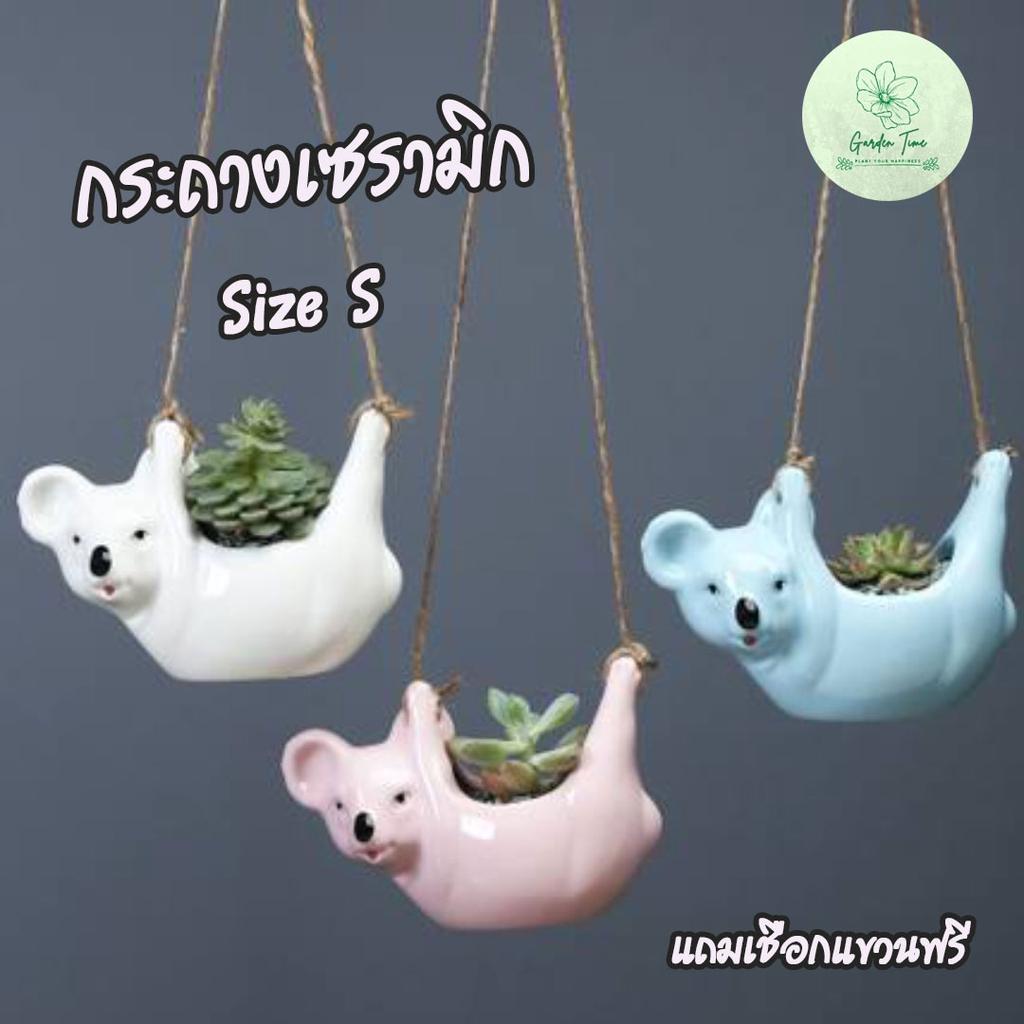 พร้อมส่งจากไทย กระถางเซรามิกมีโคอาล่ามีเชือกแขวน ใส่กระบองเพชร กระถางต้นไม้ กระถางจิ๋ว กระถางไม้อวบน้ำ