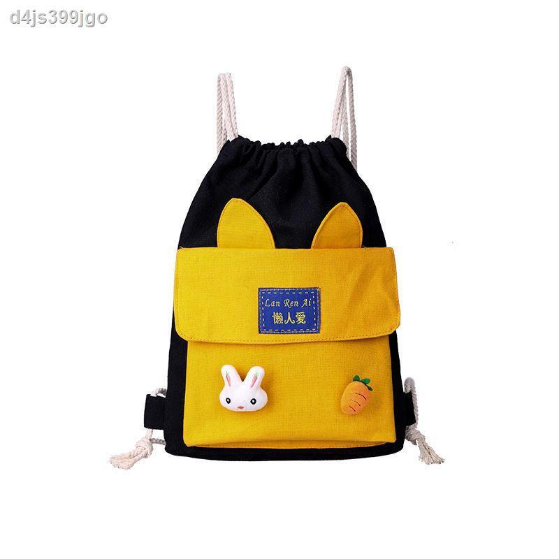 【กระเป๋าเป้】♞✎❂กระเป๋าหูรูดหญิงที่เดินทางมาพักผ่อนกระเป๋าเป้ใบเล็กน่ารักที่เข้ากันได้ทั้งหมดอินสุทธิแดง กระเป๋านักเรี