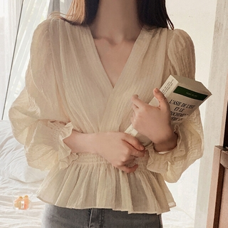 Review french style retro puff sleeve blouse loose Tops casual solid trendy Tops