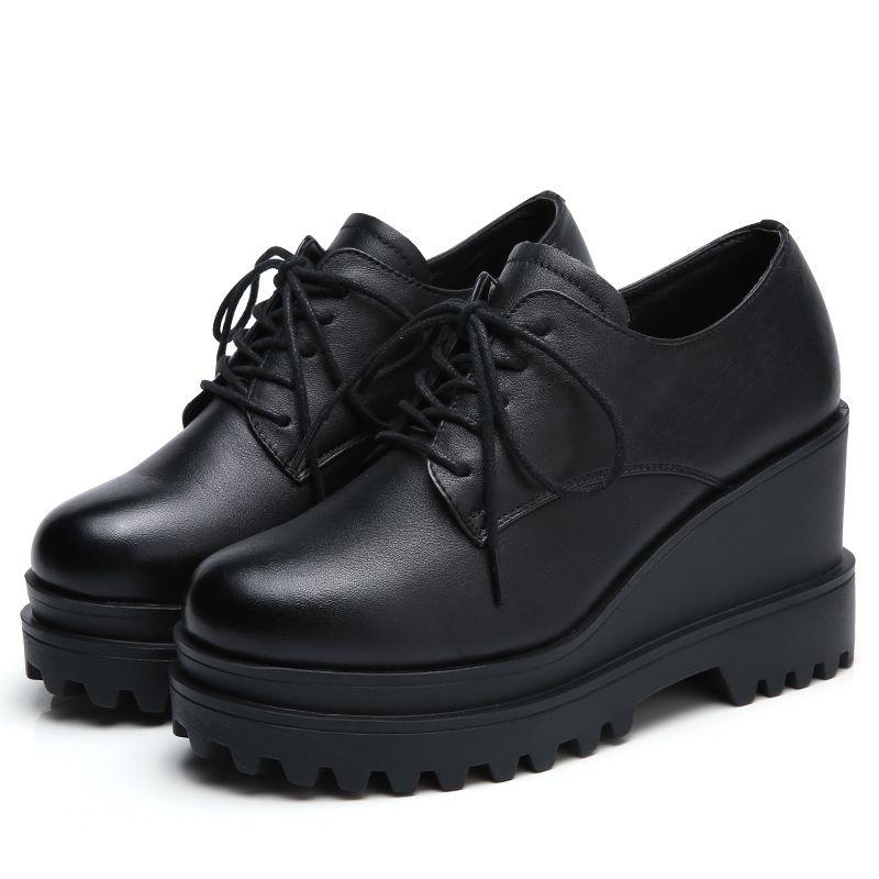รองเท้าคัชชูส้นเตารีด 2019ฤดูใบไม้ผลิและฤดูใบไม้ร่วงหญิงกับรองเท้าแพลตฟอร์มส้นสูงลิ่มกับรองเท้าผู้หญิงหนาด้านล่างเพิ่มขึ