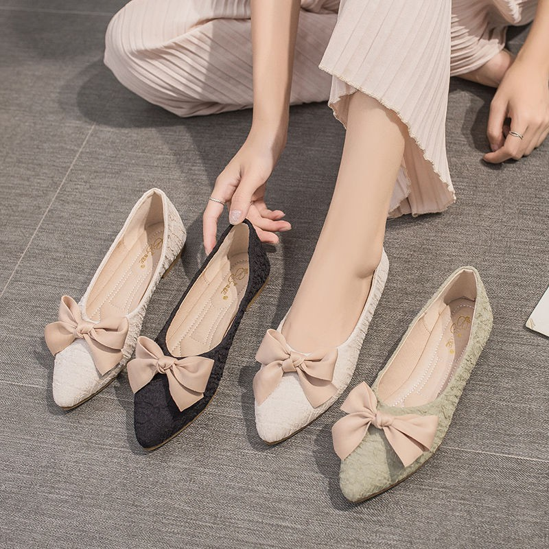 พร้อมส่ง รองเท้าคัชชูหัวแหลมผู้หญิงสไตล์เกาหลีแบนคันธนู#321