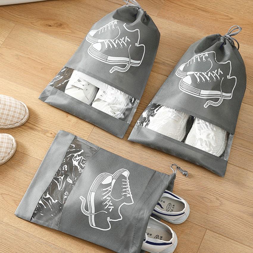 ถุงใส่รองเท้า ถุงเก็บรองเท้ากันเปียก ถุงเก็บของเอนกประสงค์ ถุงใส่รองเท้าอเนกประสงค์แบบหูรูด พกพาง่าย น้ำหนักเบา.